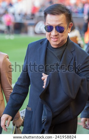 VALENCIA, SPAIN - JANUARY 4: Peter Lim owner of Valencia c.f. during Spanish League match between Valencia CF and Real Madrid at Mestalla Stadium on January 4, 2015 in Valencia, Spain - stock photo
