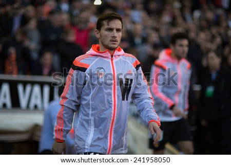 VALENCIA, SPAIN - JANUARY 4: Piatti during Spanish League match between Valencia CF and Real Madrid at Mestalla Stadium on January 4, 2015 in Valencia, Spain - stock photo