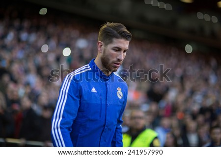 VALENCIA, SPAIN - JANUARY 4: Ramos during Spanish League match between Valencia CF and Real Madrid at Mestalla Stadium on January 4, 2015 in Valencia, Spain - stock photo