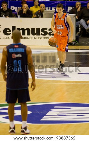 VALENCIA, SPAIN - JANUARY 28: Rodrigo San Miguel (#00 player) in action during the ACB league match between Valencia Basket  and Asefa Estudiantes, 85-71, on January 28, 2012, in Valencia, Spain - stock photo