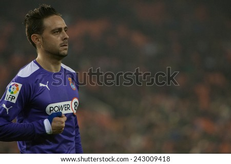 VALENCIA, SPAIN - JANUARY 4: Sergio Garcia during Spanish King Cup match between Valencia CF and RCD Espanyol at Mestalla Stadium on January 4, 2015 in Valencia, Spain - stock photo