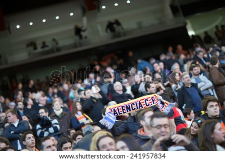 VALENCIA, SPAIN - JANUARY 4: Supporters during Spanish League match between Valencia CF and Real Madrid at Mestalla Stadium on January 4, 2015 in Valencia, Spain