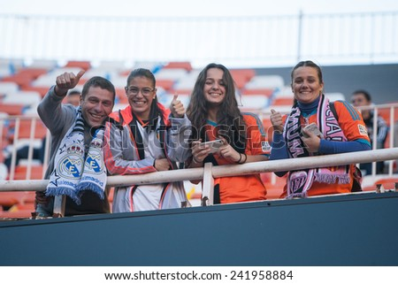 VALENCIA, SPAIN - JANUARY 4: Supporters during Spanish League match between Valencia CF and Real Madrid at Mestalla Stadium on January 4, 2015 in Valencia, Spain - stock photo