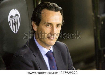 VALENCIA, SPAIN - JANUARY 25: Unai Emery during Spanish League match between Valencia CF and Sevilla FC at Mestalla Stadium on January 25, 2015 in Valencia, Spain - stock photo