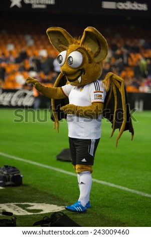 VALENCIA, SPAIN - JANUARY 4: Valencia mascot during Spanish King Cup match between Valencia CF and RCD Espanyol at Mestalla Stadium on January 4, 2015 in Valencia, Spain - stock photo