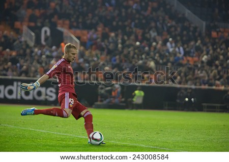 VALENCIA, SPAIN - JANUARY 4: Yoel during Spanish King Cup match between Valencia CF and RCD Espanyol at Mestalla Stadium on January 4, 2015 in Valencia, Spain - stock photo