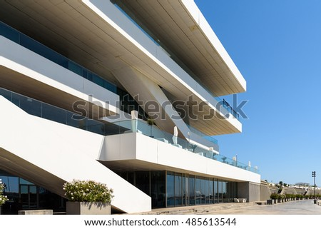 VALENCIA, SPAIN - JULY 24, 2016: Designed by the British architect David Chipperfield, America's Cup Building (Veles e Vents) is located in Port of Valencia and won numerous architectural prizes.