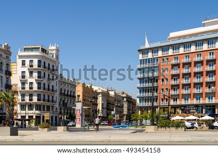 VALENCIA, SPAIN - JULY 21, 2016: People Walking Downtown Valencia City In Spain.