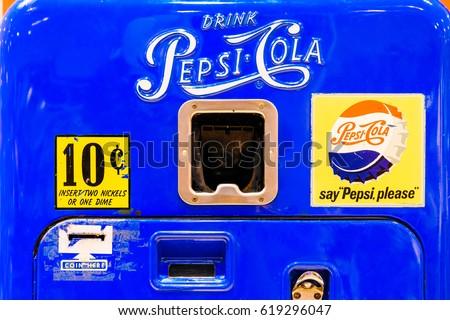 VALENCIA, SPAIN - JULY 31, 2016: Retro Pepsi-Cola Vending Machine Closeup.