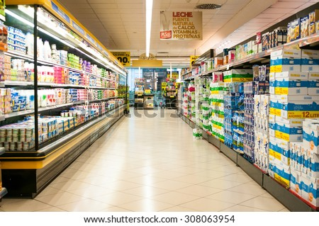VALENCIA, SPAIN- JULY 04, 2015: Supermarket Mercadona is largest supermarket chain in Spain. It founded in January 01, 1977
