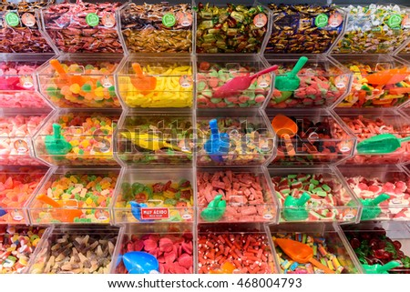 VALENCIA, SPAIN - JULY 20, 2016: Various Colorful Sweet Jelly For Sale In Candy Store.