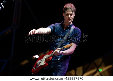 VALENCIA, SPAIN - JUN 10: The Fratellis (band) perform in concert at Festival de les Arts on June 10, 2016 in Valencia, Spain.