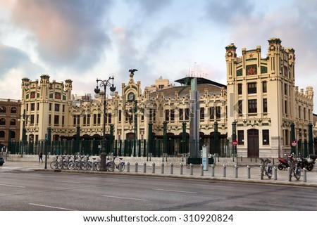 VALENCIA, SPAIN - June 29, 2015: North Railways Station in earhly morning in Valencia, Spain. Every year, Valencia (third size population city in Spain) welcomes more than 4 million visitors.