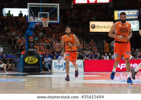 VALENCIA, SPAIN - JUNE 9th: Diot with ball during 4th playoff match between Valencia Basket and Real Madrid at Fonteta Stadium on June 9, 2016 in Valencia, Spain - stock photo