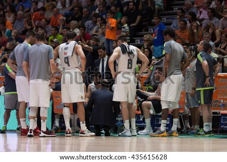 VALENCIA, SPAIN - JUNE 9th: Madrid players during 4th playoff match between Valencia Basket and Real Madrid at Fonteta Stadium on June 9, 2016 in Valencia, Spain - stock photo