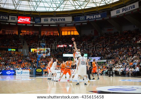 VALENCIA, SPAIN - JUNE 9th: Players during 4th playoff match between Valencia Basket and Real Madrid at Fonteta Stadium on June 9, 2016 in Valencia, Spain - stock photo