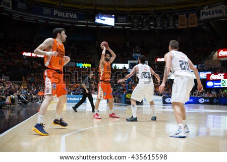 VALENCIA, SPAIN - JUNE 9th: San Emeterio with ball during 4th playoff match between Valencia Basket and Real Madrid at Fonteta Stadium on June 9, 2016 in Valencia, Spain - stock photo