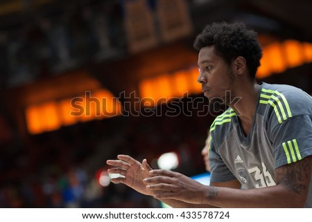 VALENCIA, SPAIN - JUNE 7th: Thompkins during 3rd playoff match between Valencia Basket and Real Madrid at Fonteta Stadium on June 7, 2016 in Valencia, Spain - stock photo