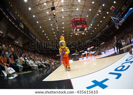 VALENCIA, SPAIN - JUNE 9th: Valencia mascot during 4th playoff match between Valencia Basket and Real Madrid at Fonteta Stadium on June 9, 2016 in Valencia, Spain - stock photo