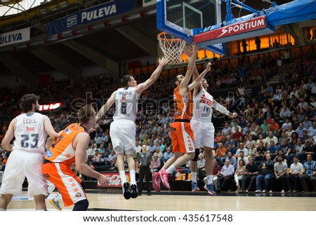 VALENCIA, SPAIN - JUNE 9th: Various players during 4th playoff match between Valencia Basket and Real Madrid at Fonteta Stadium on June 9, 2016 in Valencia, Spain - stock photo