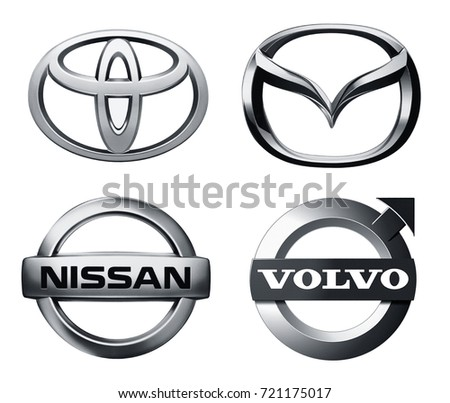 Valencia, Spain - March 27, 2017: Collection of popular car logos printed on white paper: Toyota, Mazda, Volvo, Nissan.