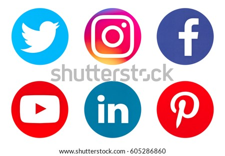 Valencia, Spain - March 20, 2017: Collection of popular social media logos printed on paper: Facebook, Instagram, Twitter, Pinterest, Youtube, Linkedin.