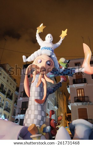 """Valencia, Spain - March 18, 2015: """"Falla"""" from Dr. Collado Square in Valencia, Spain. """"Fallas"""" from Valencia are the traditional valencian festivities in honor to St. Joseph. - stock photo"""
