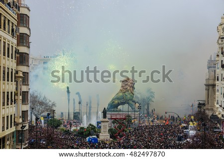 VALENCIA, SPAIN - MARCH 19, 2015:Fireworks in the main square during the Las Fallas Festival in Valencia, Spain