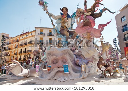 VALENCIA,SPAIN - MARCH 17:Las Fallas,papermache models are constructed then burnt in the traditional celebration in praise of St Joseph on March 17,2012 in Valencia,Spain. - stock photo