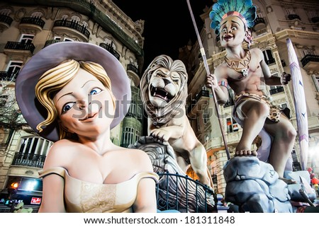 VALENCIA,SPAIN - MARCH 17: Las Fallas,papermache models are constructed then burnt in the traditional celebration in praise of St Joseph on March 17,2012 in Valencia,Spain. - stock photo