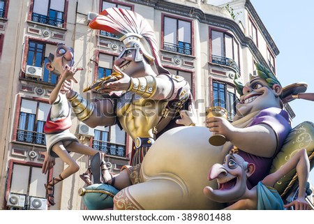 VALENCIA, SPAIN - MARCH 13: Satirical ninots (puppets) on Fallas on march 13, 2016 in Valencia, Spain. Las Fallas is an internationally known fire celebration in praise of Saint Joseph in Valencia. - stock photo