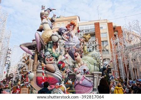 VALENCIA, SPAIN - MARCH 18: Satirical ninots (puppets) on Fallas on march 18, 2016 in Valencia, Spain. Las Fallas is an internationally known fire celebration in praise of Saint Joseph in Valencia