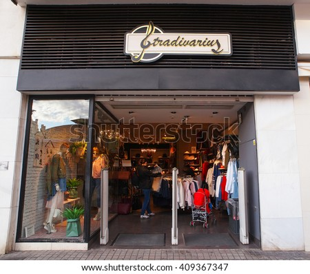 VALENCIA, SPAIN - MARCH 22, 2016. Stradivarius store in Valencia. Stradivarius is an international women clothing fashion brand from Spain, part of the Inditex group.