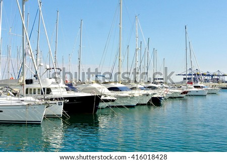 VALENCIA, SPAIN - MAY 1: A beautiful view of the port of Valencia. It's the fifth busiest seaport in Europe, being also the largest in Spain and in the Mediterranean. May 1, 2016 in Valencia, Spain
