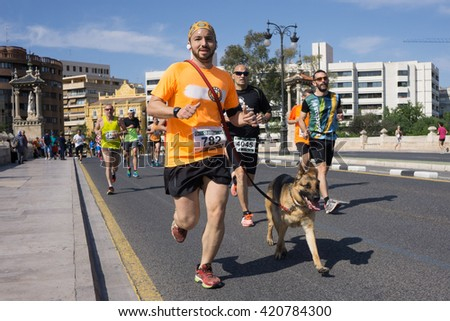 VALENCIA, SPAIN - MAY 15, 2016: A runner running with his dog at the Volta a Peu Valencia Caixa Popular 8k run. Over 15,000 runners competed in this event. - stock photo