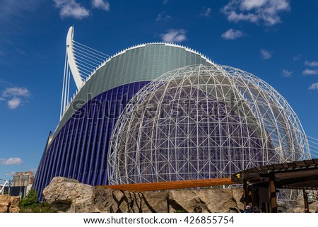 VALENCIA, SPAIN - MAY 14, 2016: Area of Valencia, Spain, known as the City of Arts and Sciences, May 14, 2016 in Valencia, Spain - stock photo