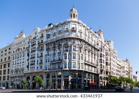 VALENCIA, SPAIN - MAY 14, 2016: Different views of the city of Valencia, Spain, in this case a building of the Town Hall Square, May 14, 2016 in Valencia, Spain