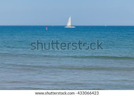 VALENCIA, SPAIN - MAY 15, 2016: Malvarrosa Beach in the city of Valencia, Spain, before the arrival of summer, May 15, 2016 in Valencia, Spain