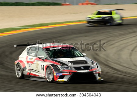 VALENCIA, SPAIN - MAY 2: Team formed by Alvaro Fontes and Mirco Van Oostrum races in a Seat Leon Cup Racer in the Spanish Endurance Championship, at Ricardo Tormo's Circuit, on May 2, 2015 in Cheste.
