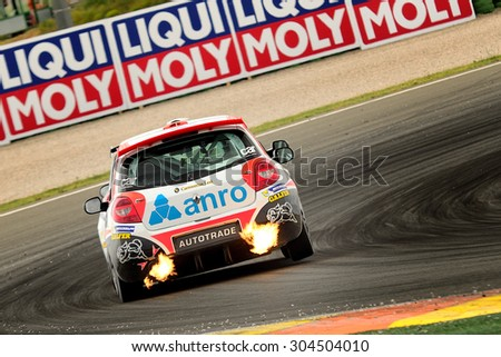 VALENCIA, SPAIN - MAY 2: Team formed by Jose Antonio Rueda and Rafael Rodriguez races in a Rneault Clio Cup in the Spanish Endurance Championship, at Ricardo Tormo's Circuit, on May 2, 2015 in Cheste. - stock photo