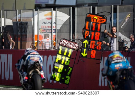 VALENCIA, SPAIN - NOV 13: Pitlane during Motogp Grand Prix of the Comunidad Valencia on November 13, 2016 in Valencia, Spain.