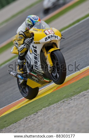 VALENCIA, SPAIN - NOVEMBER 6: Alex de Angelis in motogp Grand Prix of the Comunitat Valenciana, Ricardo Tormo Circuit of Cheste, Spain on november 6, 2011