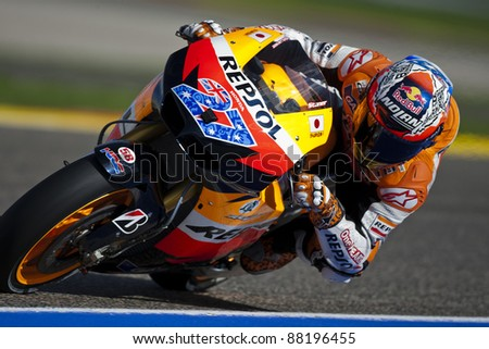 VALENCIA, SPAIN - NOVEMBER 5: Casey Stoner in motogp Grand Prix of the Comunitat Valenciana, Ricardo Tormo Circuit of Cheste, Spain on november 5, 2011 - stock photo
