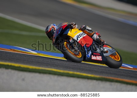VALENCIA, SPAIN - NOVEMBER 9: Casey Stoner in the official motogp test with new 1.000cc engines, Ricardo Tormo Circuit of Cheste, Spain on november 9, 2011