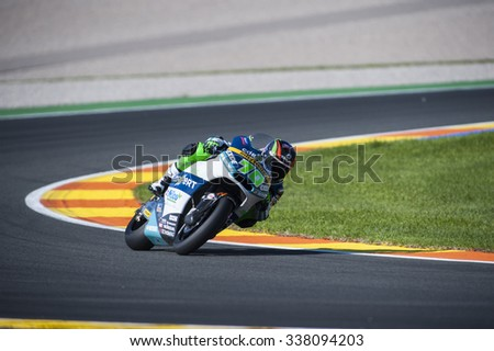 VALENCIA, SPAIN - NOVEMBER 6: Dominique Aegerter during Valencia MotoGP 2015 at Ricardo Tormo Circuit on November 6, 2015 in Valencia, Spain