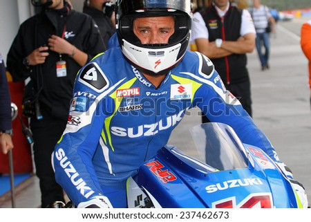 VALENCIA - SPAIN, NOVEMBER 7: French Suzuki rider Randy de Puniet at 2014 Generali MotoGP of Valencia at Cheste circuit on November 7, 2014
