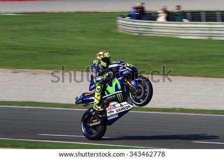 VALENCIA - SPAIN, NOVEMBER 8: Italian Yamaha rider Valentino Rossi at 2015 Motul MotoGP of Valencia on November 8, 2015 - stock photo