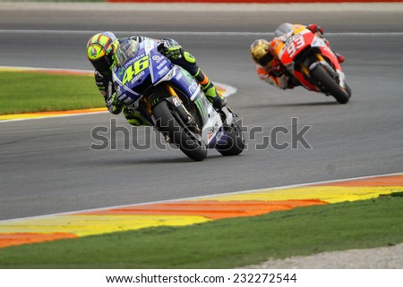 VALENCIA - SPAIN, NOVEMBER 9: Italian Yamaha rider Valentino Rossi finishes second at 2014 Generali MotoGP of Valencia on November 9, 2014