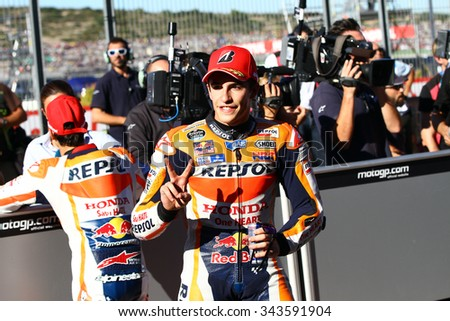VALENCIA - SPAIN, NOVEMBER 7: Spanish Honda rider Marc Marquez at 2015 Motul MotoGP of Valencia on November 7, 2015