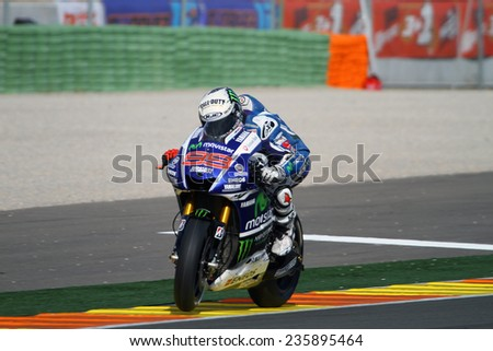 VALENCIA - SPAIN; NOVEMBER 8: Spanish Yamaha rider Jorge Lorenzo at 2014 Generali MotoGP of Valencia on November 8, 2014